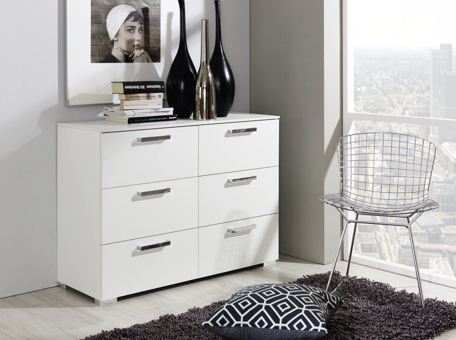 Calero bedside and Chests (High Polish)