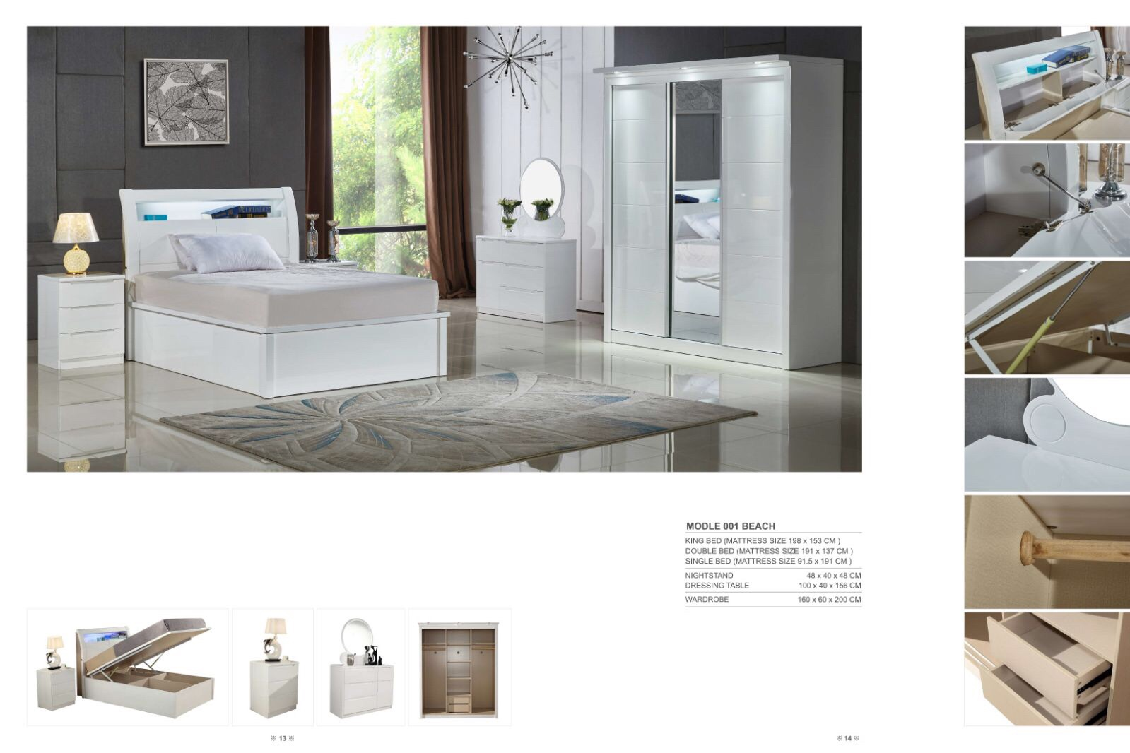 Rugby White Gloss Bedroom Set  with LED