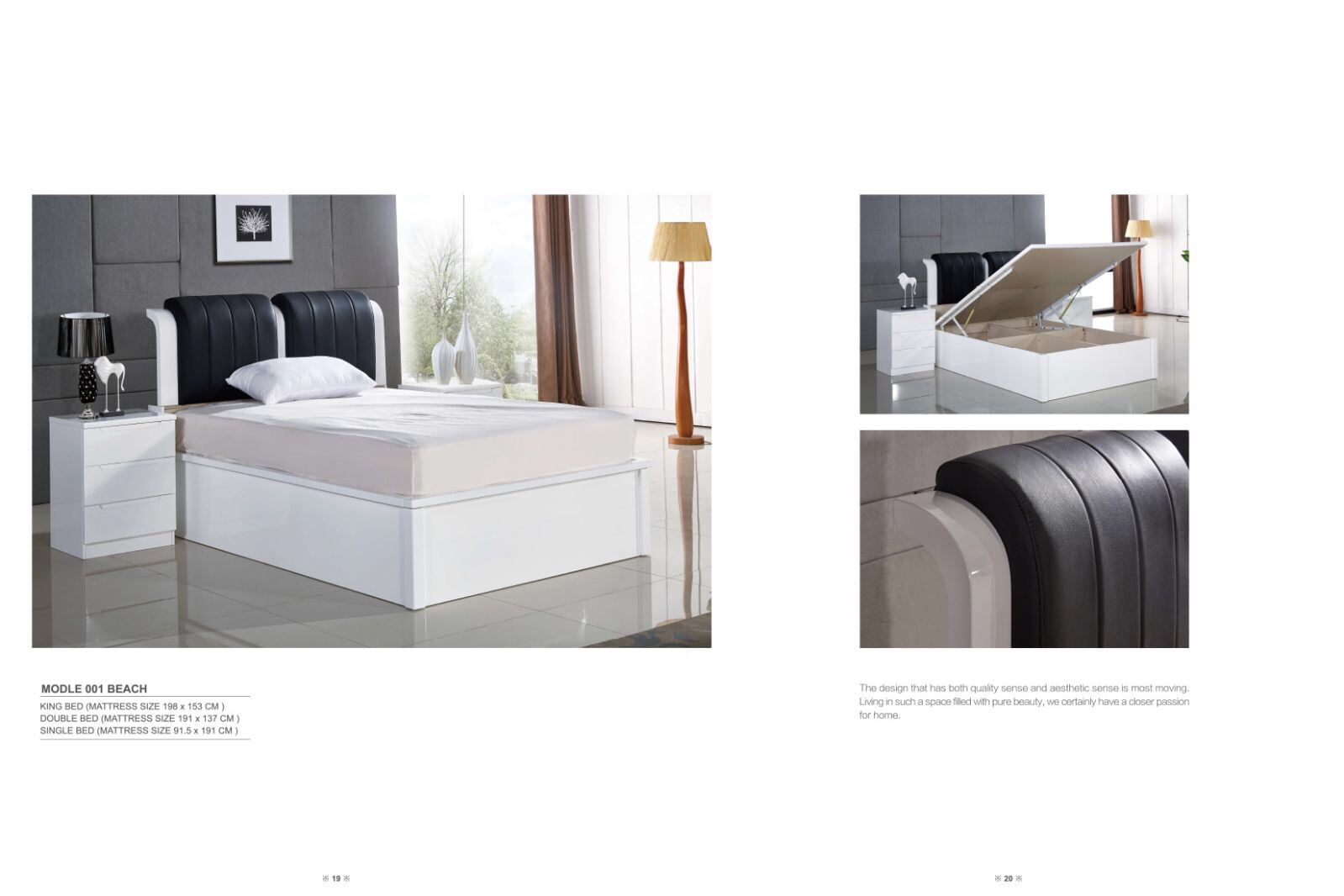 Rugby Storage Bed frame with black leather
